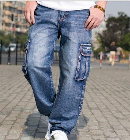 Mens Multi Pocket Wide Leg Loose Cargo   Jeans   For Men Hip Hop Baggy   Jeans   Homme Men's Biker Denim Trousers Slack Plus Size 44 46