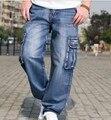 Multi carga bolso grande perna larga calças soltas para homens hip hop calças de Ganga largas Homme dos homens Denim Calças Harém Plus Size 42 44 46