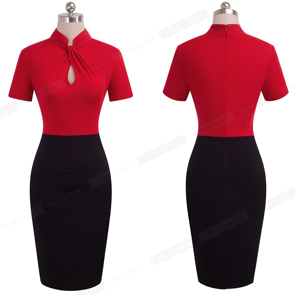 Nice-forever Vintage Contrast Color Patchwork Wear to Work Knot vestidos Bodycon Office Business Sheath Women Dress B430 21
