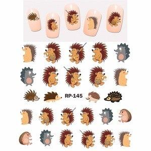 Image 5 - ネイルアート美容ネイルステッカー水デカールスライダー漫画動物カンガルーアライグマ猫クリスマスハリネズミRP145 150