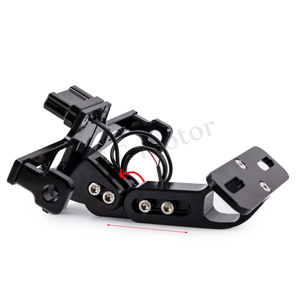 GT Motor Motorcycle full CNC Adjustable Angle Aluminum License Number Plate with LED light Frame Holder Bracket Universal in License Plate from Automobiles Motorcycles