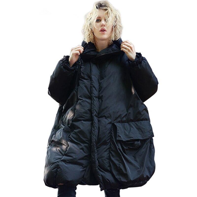 2019 Winter Women Black Down Jackets Cloak Type Fashion Plus Size Parka Street Hooded Coat Zipper