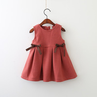 Everweekend Kids Girls New Western Autumn Holiday Bow Baby Ruffles Sleeveless Dress Girls Princess Tutu Fashion Dress