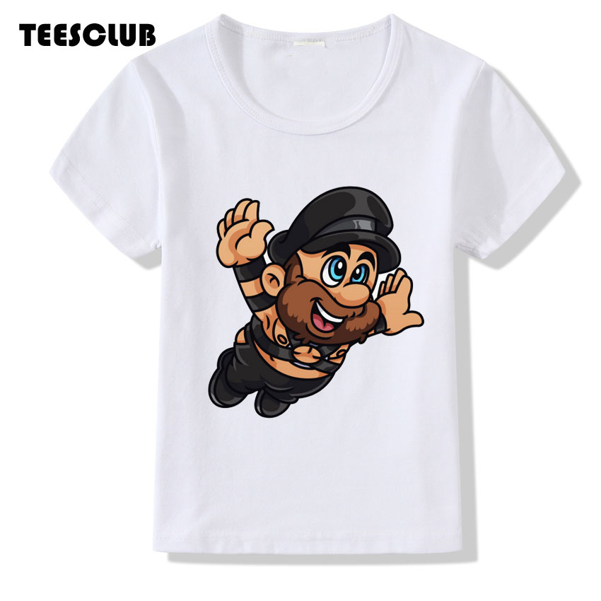 TEESCLUB Leather Daddy Print Tshirt Chidlren Short Sleeve Summer Top Kids Girl Boy Casual Clothes Baby T shirt Camiseta