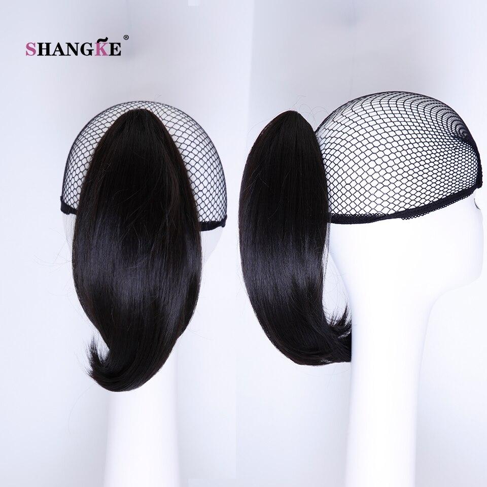 SHANGKE Hair 6 '' Short Hästsvans Naturlig Svart Klaw Drawstring - Syntetiskt hår - Foto 6