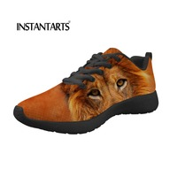 INSTANTARTS Summer Women Flats Shoes 3D African Animals Lion/Wolf Sneakers Shoes for Girls Ladies Lace Up Comfortable Flat Shoes