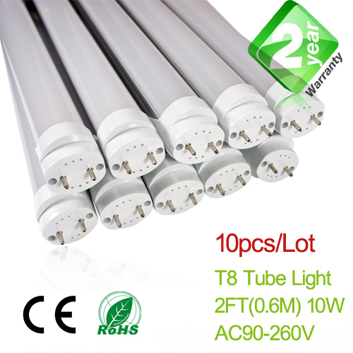 Free Shipping 10pcs/Lot 2ft T8 LED Fluorescent Tube Light 600mm 10W 900LM CE & RoSH 2 Year Warranty SMD2835 Epistar free shipping 20pcs lot 0 9meters t8 led fluorescent tube light 15w 1350lm ce