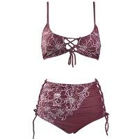 Phụ nữ swimwear Bikini Set Rượu Nho Đỏ Cao Eo Bandage Swimsuit Sexy Chữ Thập Cổ Laced Thiết Kế Tắm Suit XL