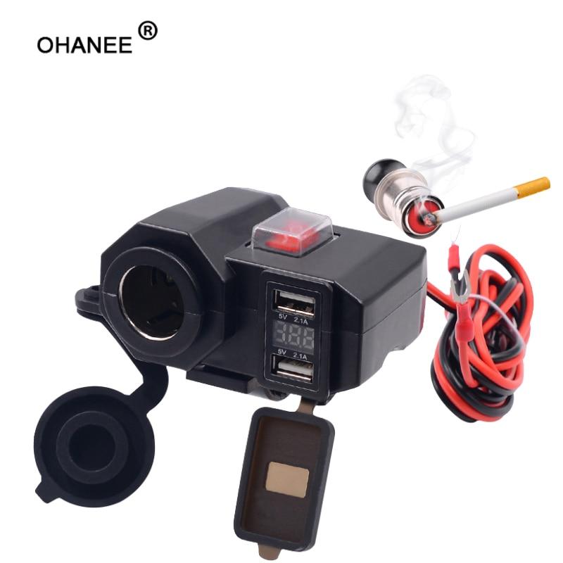 OHANEE Motorcycle USB Charger Phone 12V/24V Cigar Lighter Socket Dual USB Moto Charger LED Voltmeter Waterproof Car-Styling