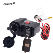 OHANEE Motorcycle USB Charger phone 12V/24V Cigar Lighter Socket Dual USB moto Charger LED Voltmeter waterproof Car-Styling(China)