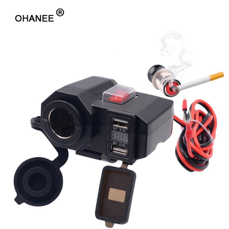 OHANEE moto rcycle USB chargeur téléphone 12 V/24 V allume-cigare prise double USB moto chargeur LED voltmètre étanche voiture-style