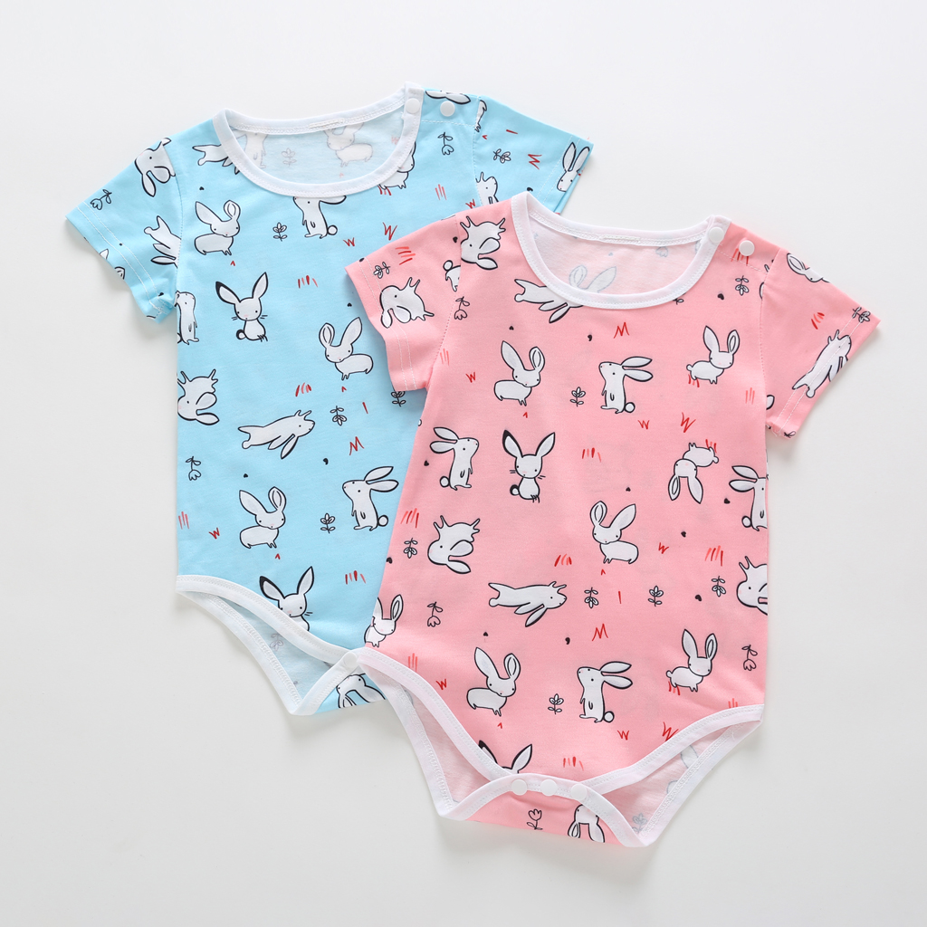 2019 Newborn Baby Summer Short Sleeve Clothes Outfits Toddler Cute Whole Body Printed Rabbit Jumpsuit Infant 3-18 Months Romper
