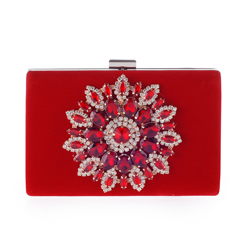 Mini Crystal Clutch Suede Evening Bags Women Chain Shoulder Bag Hard Case Small Bags Diamond Flower Messenger Bags 2018