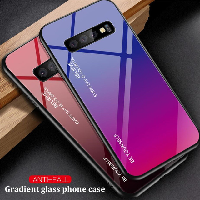 Gradient tempered Glass Hard Phone Case for Samsung Galaxy M20 M10 A30 A50 A10 S10 e S9 S8 Plus Soft Silicone Frame Back Cover