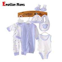 (8pcs/set)Long sleeve Newborn Baby 0-3M Brand Boy Girl warm Clothes set 100%Cotton Cartoon Underwear baby Jumpsuit Clothing