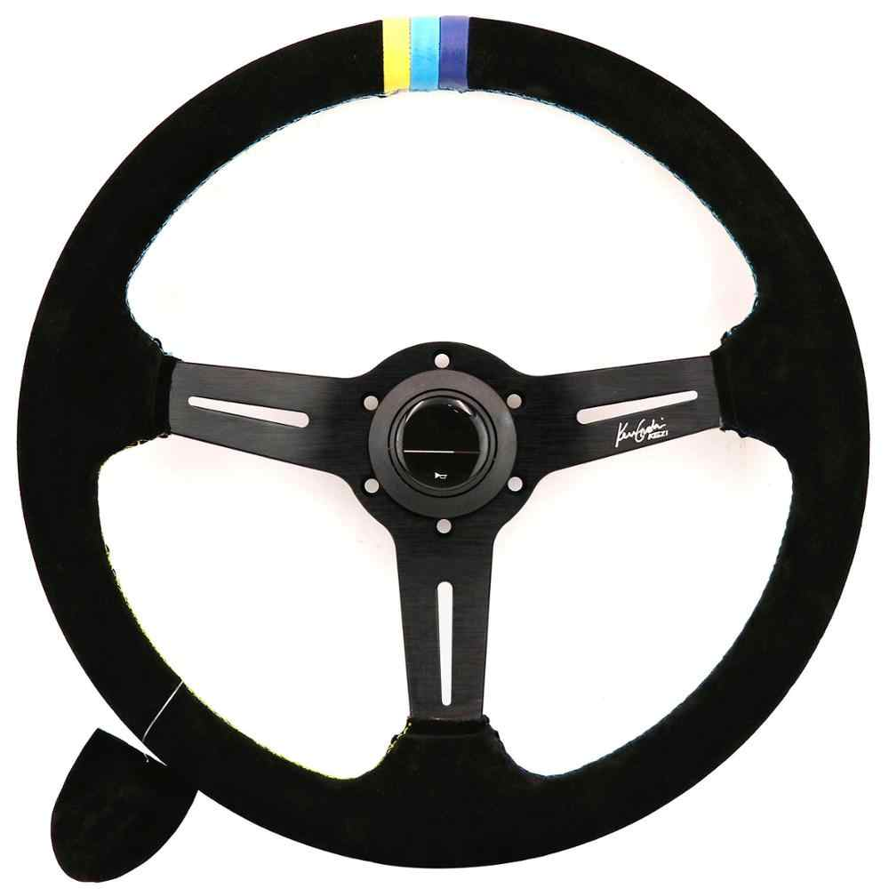 14inch GPP Suede Leather Steering Wheels With 3 Color Stitching