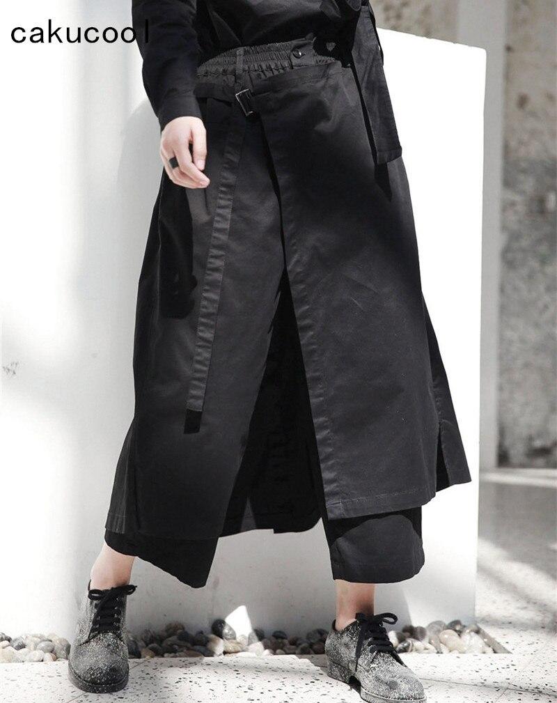 Cakucool Nouveaux À Jambes Lâche Larges Samurai Noir Solide Épais up Dentelle Femmes Feminino Japon Capris Pantalon Automne Pantalons wFprqAw