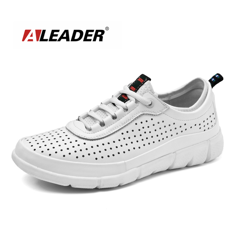 Aleader New 2016 Fashion Men Leather Shoes Summer Breathable Lace Up Casual Shoes For Men High Quality White Walking Shoes Men high quality men casual shoes fashion lace up air mesh shoe men s 2017 autumn design breathable lightweight walking shoes e62