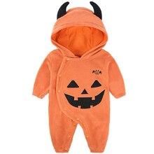 2019 Spring Autumn NewBorn Baby Clothes Onesie Halloween Boy Rompers Kids Costume Infant Pumpkin Hooded Jumpsuit 0-24M