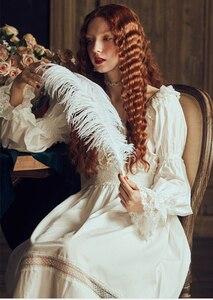 Image 3 - Bayan gecelik Retro zarif gecelikler Vintage kadınlar dantel beyaz pijama elbise pamuk uzun kollu gecelik Gentlewoman