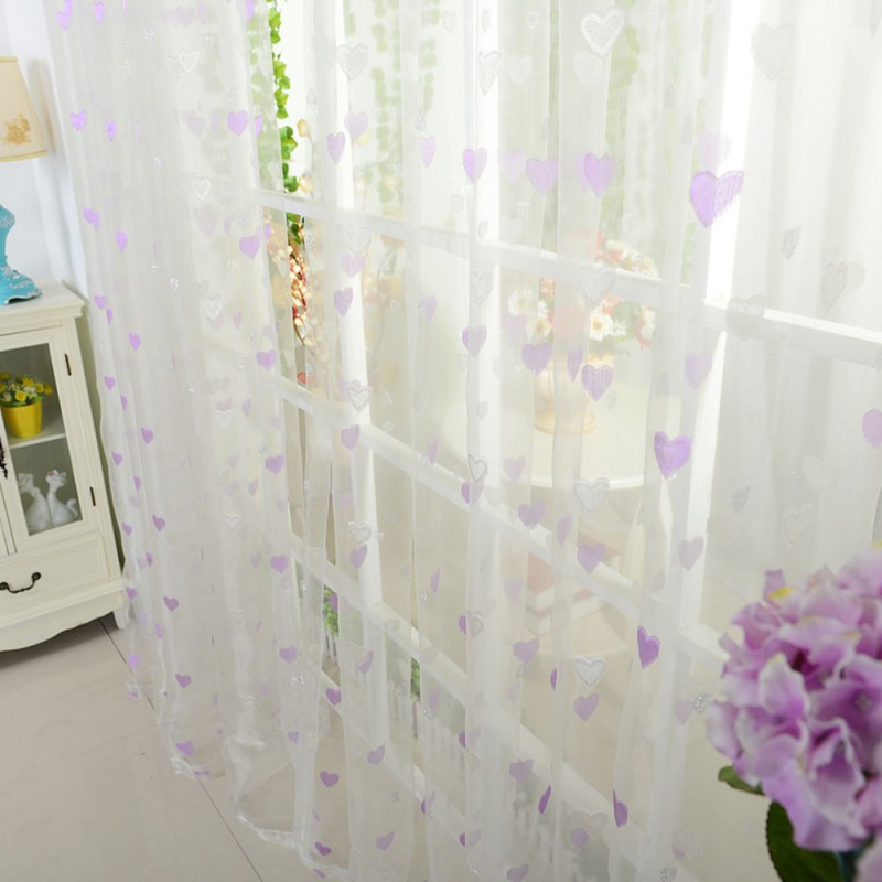 New Eyelets For Curtains Factory Price! 3 Color Tulle Voile Door Window Heart Printed Curtain Drape Panel Sheer Scarf Valance