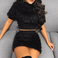 Women Sexy Short Crop Top And Skirt Summer 2 Piece Set Women Dress Set Skirts Female Club Outfits Two Pieces Set Cashmere Suits