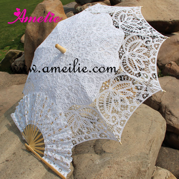Free Shipping 3 Sets of Battenburg Lace Parasol and Fan set Wedding Umbrella Fan Set