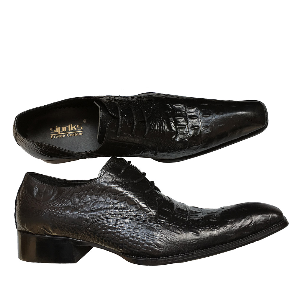 Sipriks Size 36 48 Mens Printed Crocodile Skin Black Casual Shoes Square Toe Dress Shoes For Boss Gents Suits Social Office Shoe-in Formal Shoes from Shoes    3
