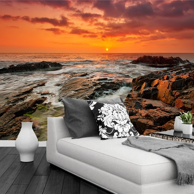 Custom Natural Scenery Wallpaper Sunrise Sea Modern Photo Mural For Living Room Bedroom Restaurant