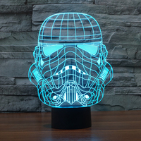 Star Wars Soldier Shape Colorful 3D LED Night Lights,Darth Vader Shape 7 Color Changing Amazing Kid Table Lamp with Touch Switch