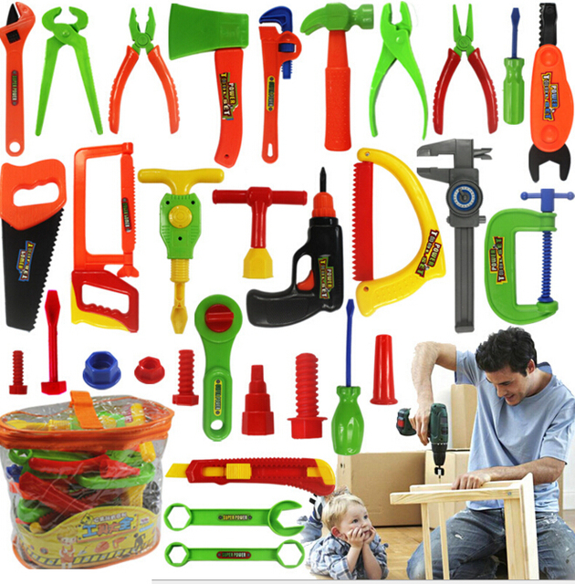 32 шт./компл. играть дома игрушки обслуживания Инструменты Портативный дети инструментов моделирования Ремонтный комплект Детские развивающие Игрушечные лошадки для Обувь для мальчиков