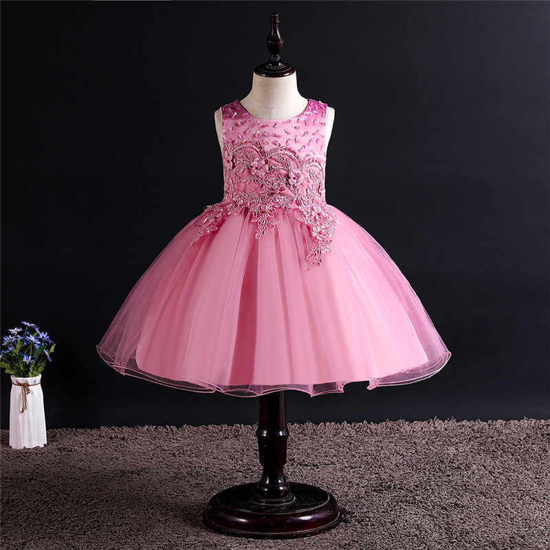 Baby Lace Embroidery Tutu Princess Dress for Girl Formal Flower Birthday Party Girl Dress Baby Girl's Christmas Clothes