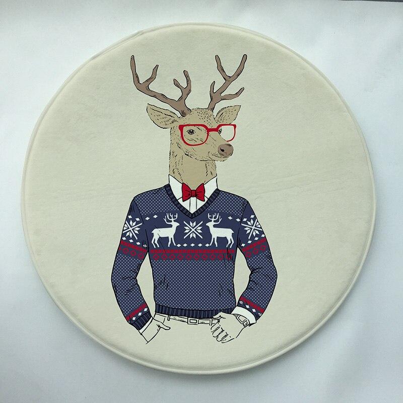 Christmas deer Print Custom Round Doormat Non-slip Rug Pad Carpet Kids Room Home Decor Floor Mat Water Absorption Mat