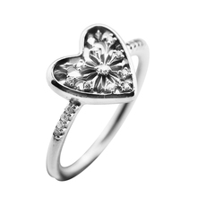 Rings 100% 925 Sterling-Silver-Jewelry Heart of Winter Ring with Clear CZ Silver Rings for Women New Christmas Rings FLR145 недорого