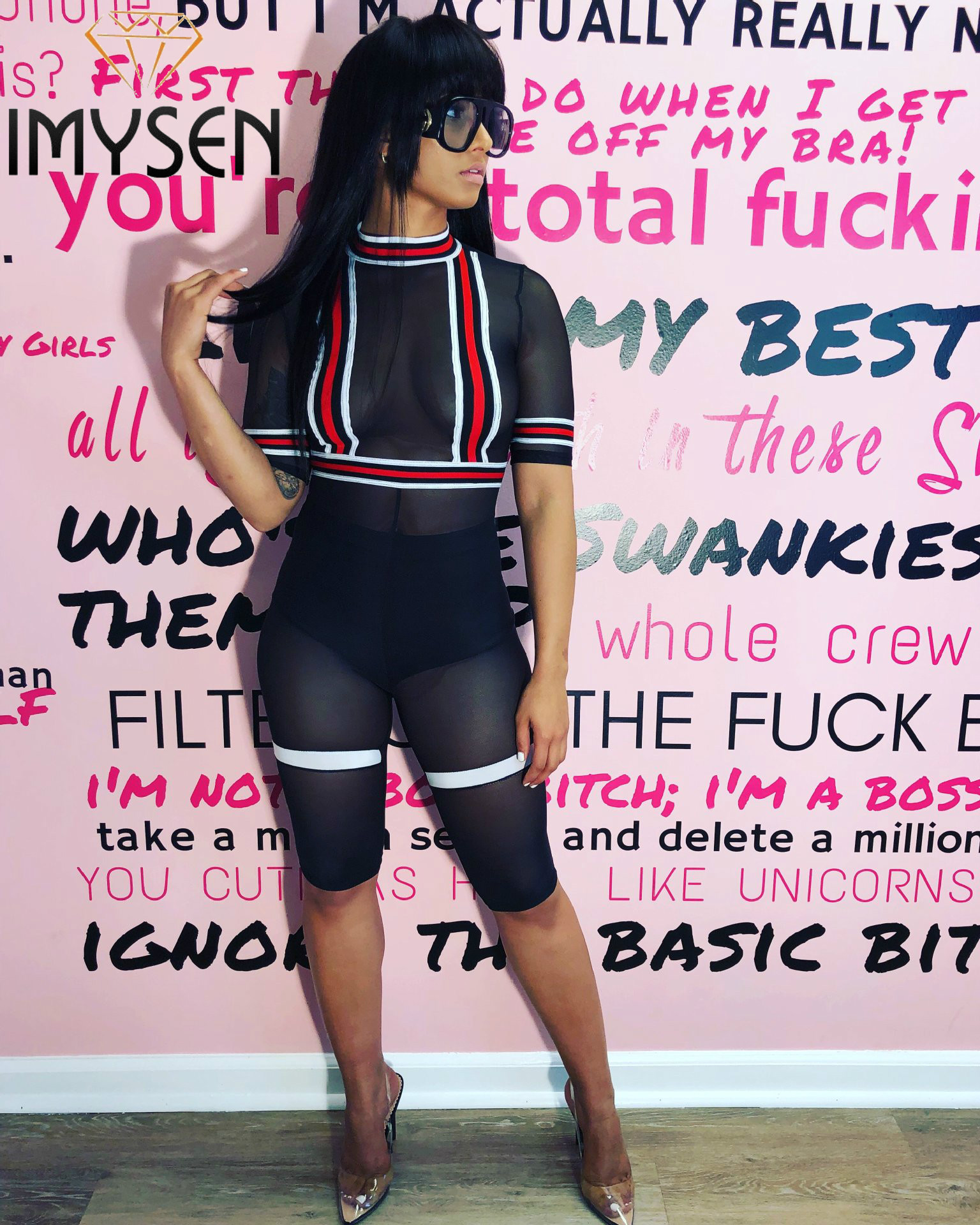 IMYSEN 2018 Sexy Gauze Perspective Playsuit Women Romper Spliced Red Stripe Black Jumpsuit Club Outfit