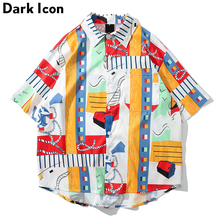 Dark Icon Hawaii Shirts Men Summer Beach Vacation Mens Shirt 2019 Street Male Tops