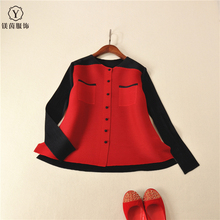 FREE SHIPPING pleated long-sleeve short jacket spring and autumn o-neck color block decoration small buttons coat IN STOCK