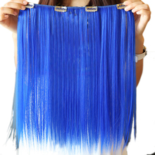 Soowee 9 Colors 42cm Synthetic Hair Straight Clip In Hair Extension Red Pink Cosplay Hairpiece Party Hair for Women