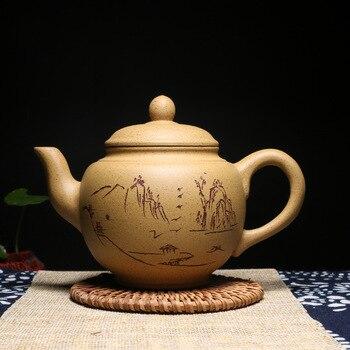 Yi Fang Yixing authentic pot teapot famous pure handmade teapot ore section mud house springing lights among sesame