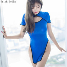 transparent Hollow out Short sleeve Breasts cheongsam Buttocks sexy lingerie erotic underwear lenceria langerie babydoll
