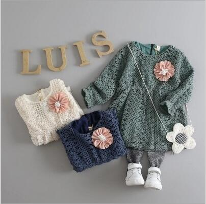 0441035af737 2016 children Korean styles girl sweet crochet dress fall winter ...