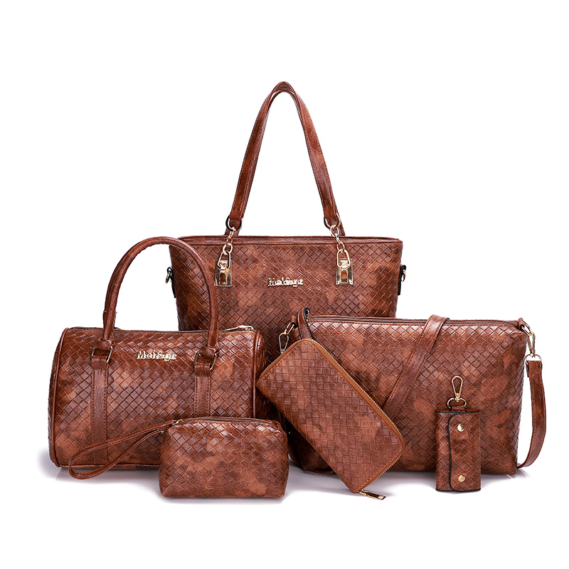 fashion knitting pattern women composite bag female pu leather shoulder bags set casual women's handbag shoulder bag sac a main цена