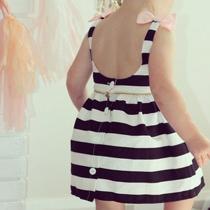 Image 2 - Baby Girls Dress Summer Stripe Dress Baby Dressing for Party Holiday Black and White with Bow Kids Clothes Cute Princess Fashion