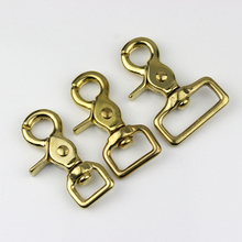 4 Pcs Brass Snap Hook Swivel Eye Lobster Claw Clasps Trigger Clip for Leather Craft Bag Purse Strap Belt Webbing Pet Leash Rope