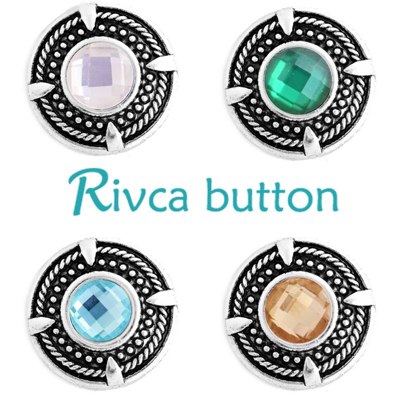 Rivca Snap Button Jewelry Newest Charm Rhinestone Styles Metal Ginger Snap Button Bracelets For Woman Gifts D03215