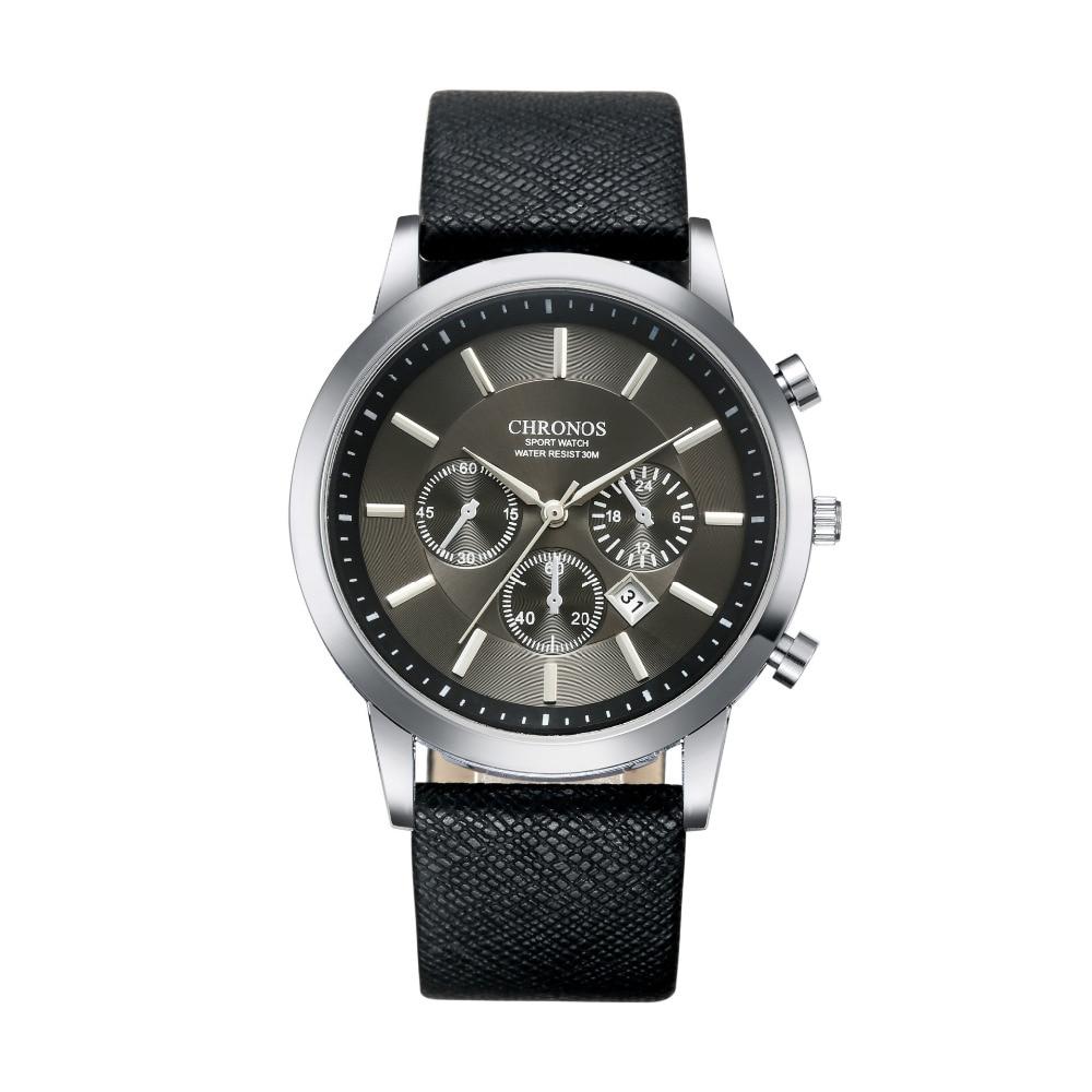 Mens Watches CHRONOS Brand  Ultra Slim Quartz Military Watches Men Waterproof Date Clock Relogio Masculino Montre Homme Saat