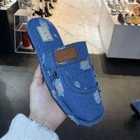 Womens Denim Jeans Ripped Open Toe Flats Slingback Slipper Sandals Shoes Cowboy Summer Beach Size A04