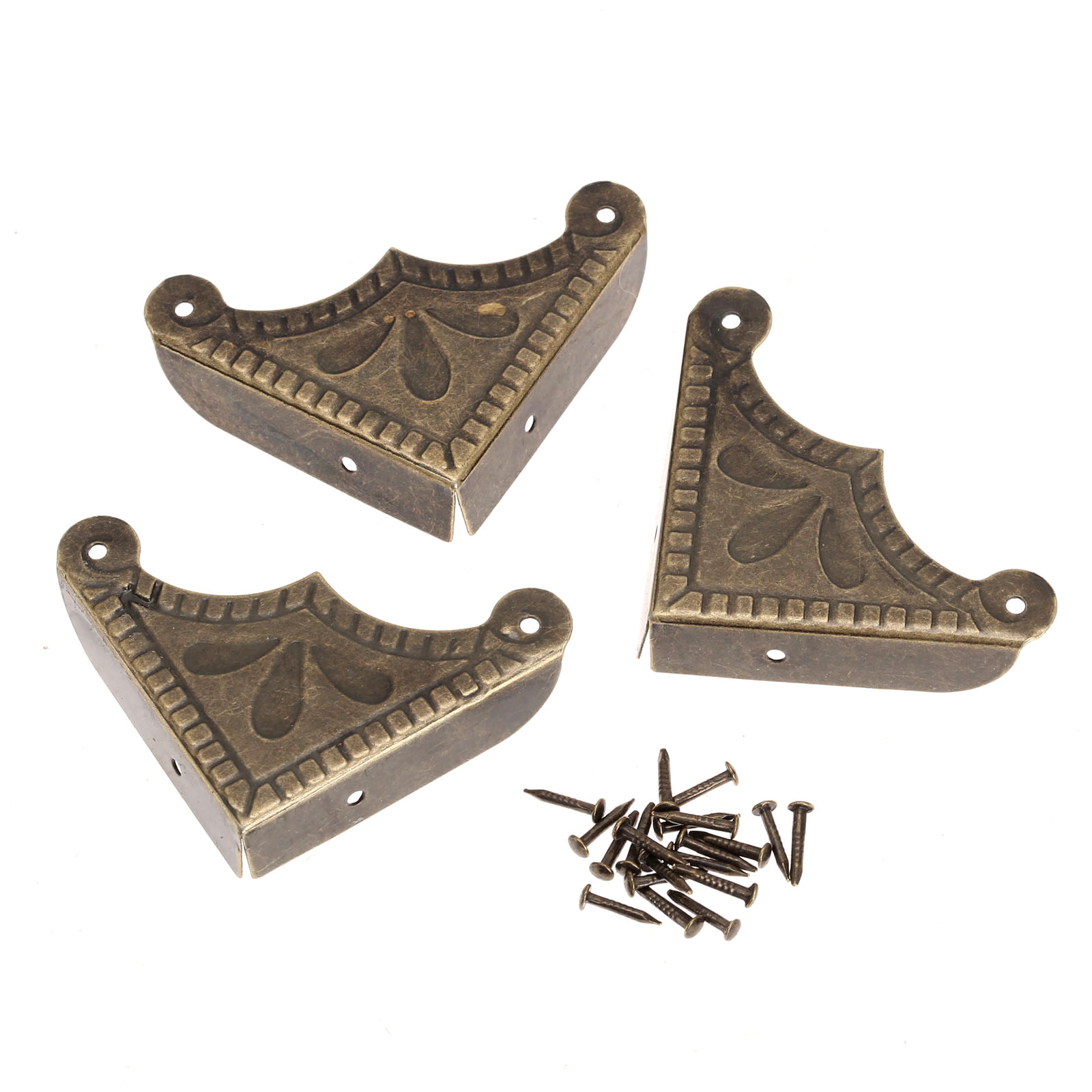 12Pcs Decorative Corner Brackets for Scrapbook Wooden Box Edge Cover Protector Guard Antique Chinese Crafts w/Nail