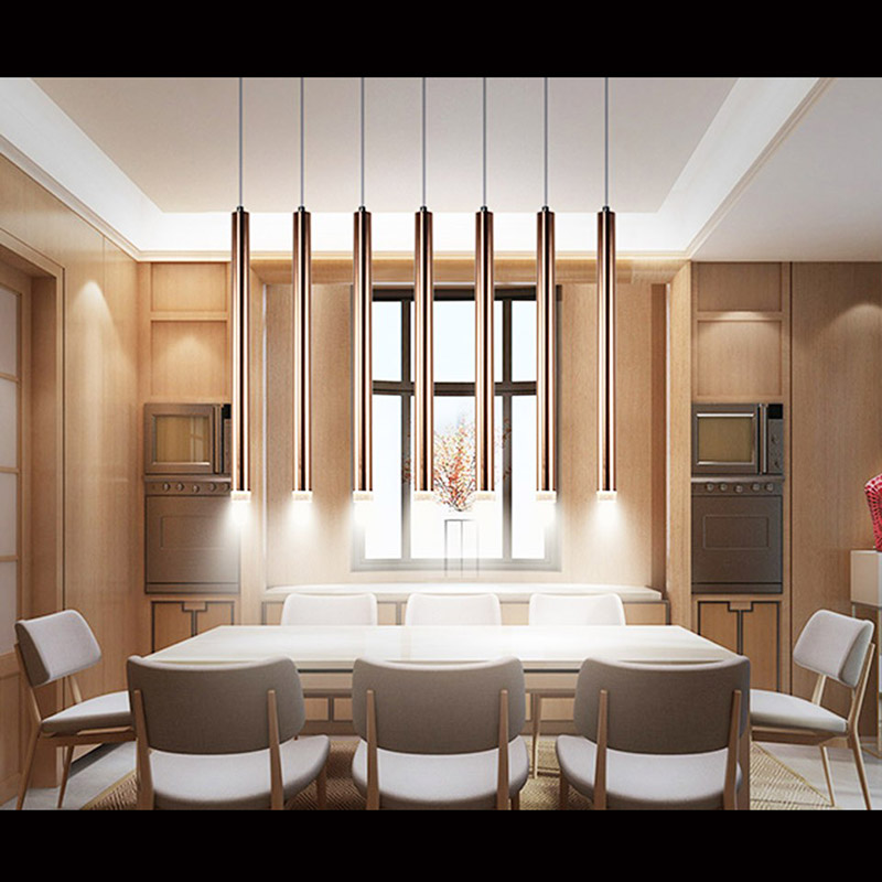 Plafonnier LED lumières tubulaire long Design 5 têtes luxe moderne Aviation aluminium salle à manger Bar couleur métallique brillante