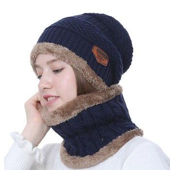 2018 Winter Hat Scarf Set Unisex Solid Knit Beanies Plus Velvet Hat Men Cap Women Warm Thicken Hedging Cap Ski Soft Ring Scarf